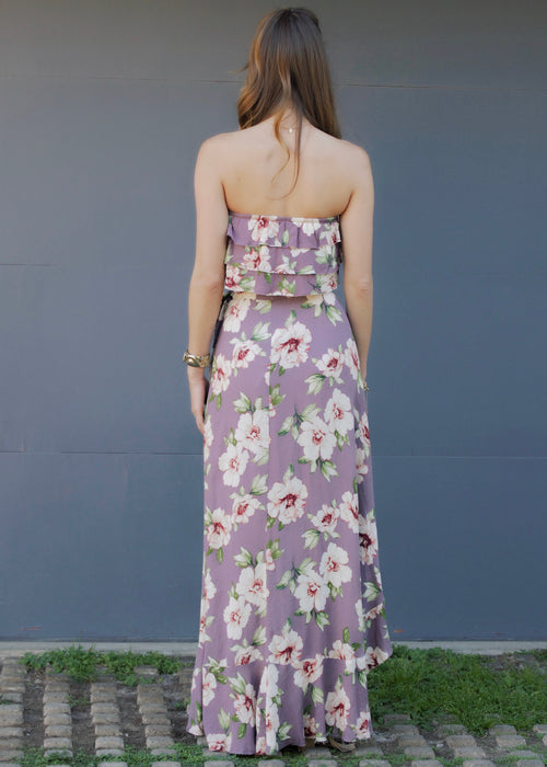 Blue Life Lavender Hibiscus Two Piece Set - Purple Max Skirt and Crop