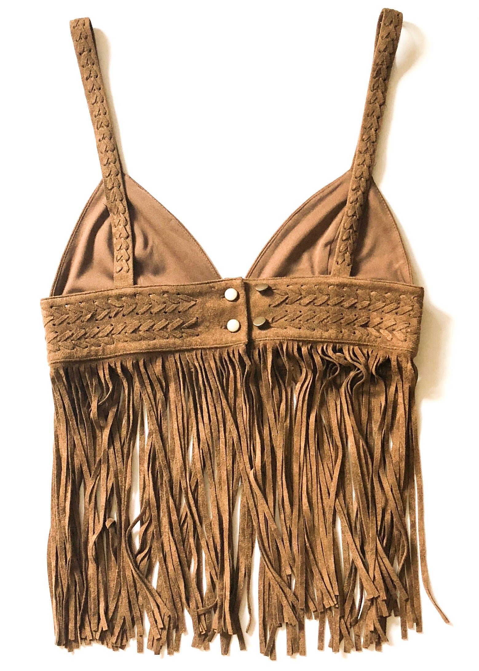 Show Me Your MuMu Calico Fringe Top - Brown Cinnamon Festival Top