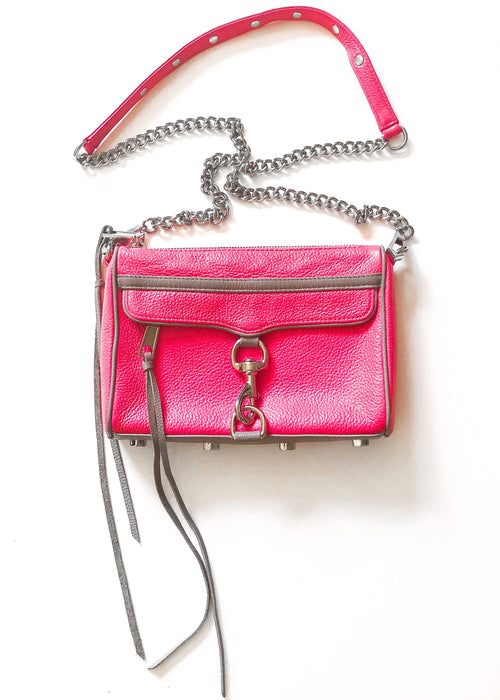 Rebecca Minkoff Mini Mac with Contrast Trim - Neon Pink Silver Fuscia