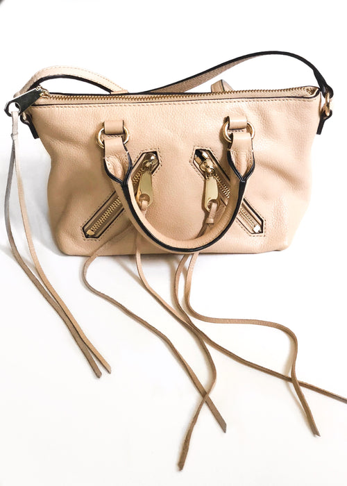 Rebecca Minkoff - Mini Moto Leather Satchel Bag - Camel/Gold Cream