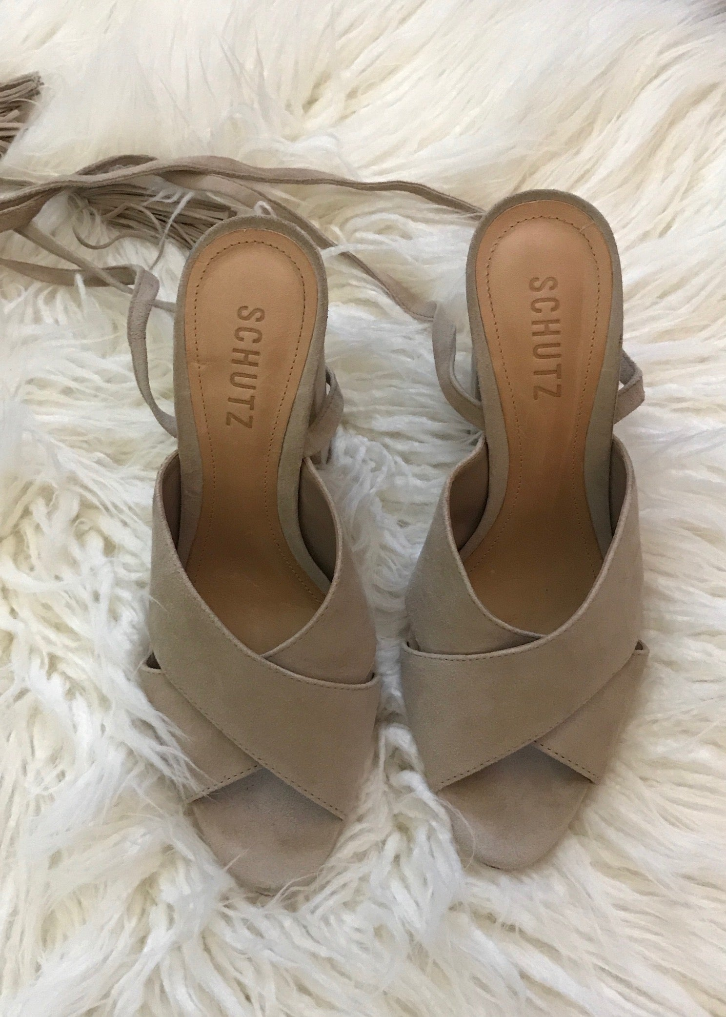 SCUTCH Damilia Wrap Up Heeled Platform Sandal in Nude Tan Beige