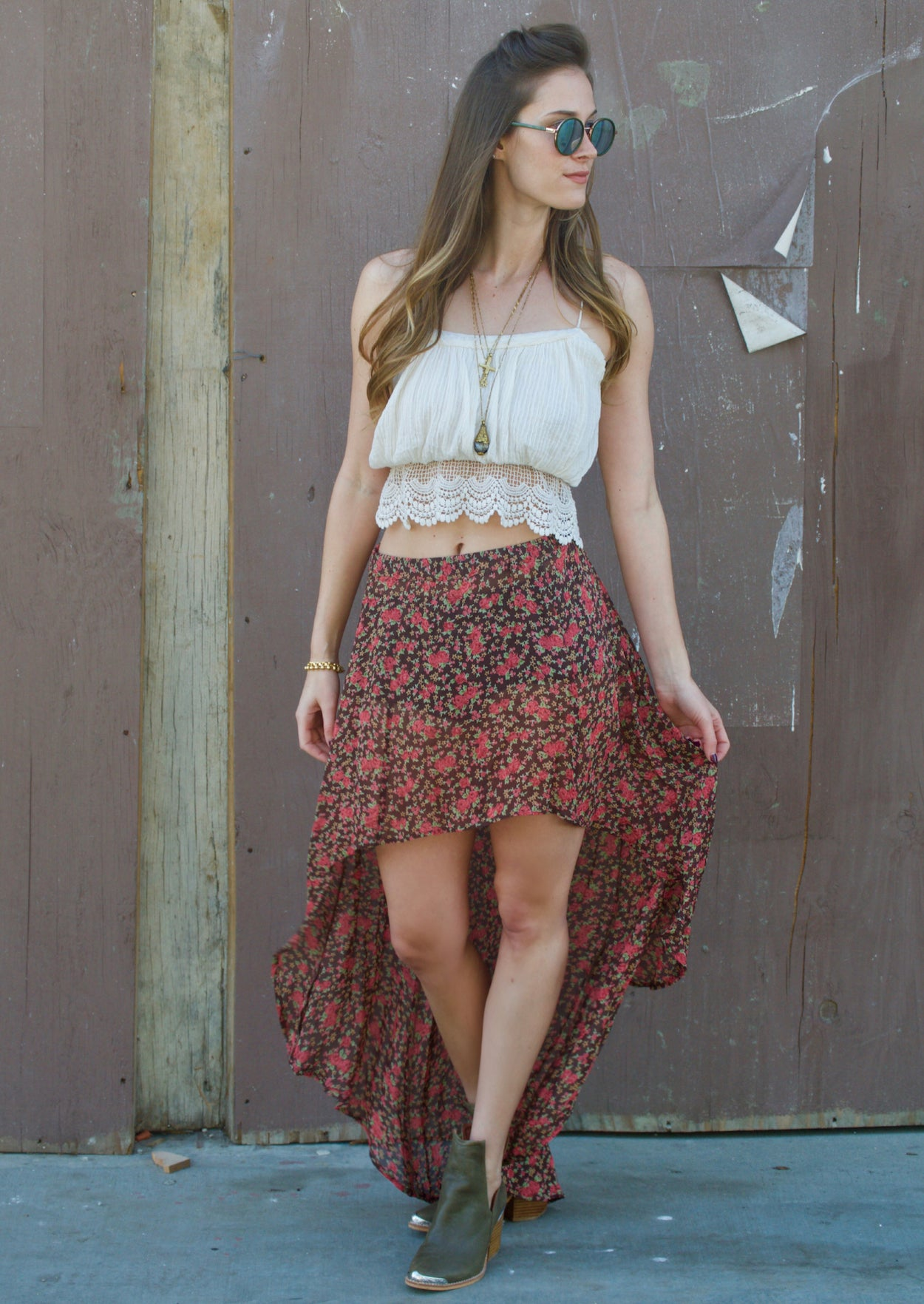 Sheer High Low Skirt