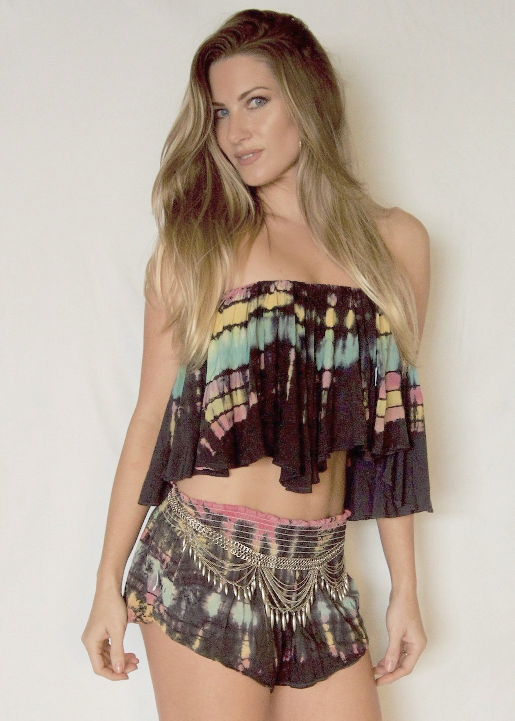 Planet Blue Blue Life Festival Tie-dye Bunny Shorts and Tube Top - Pink Blue Yellow Coachella