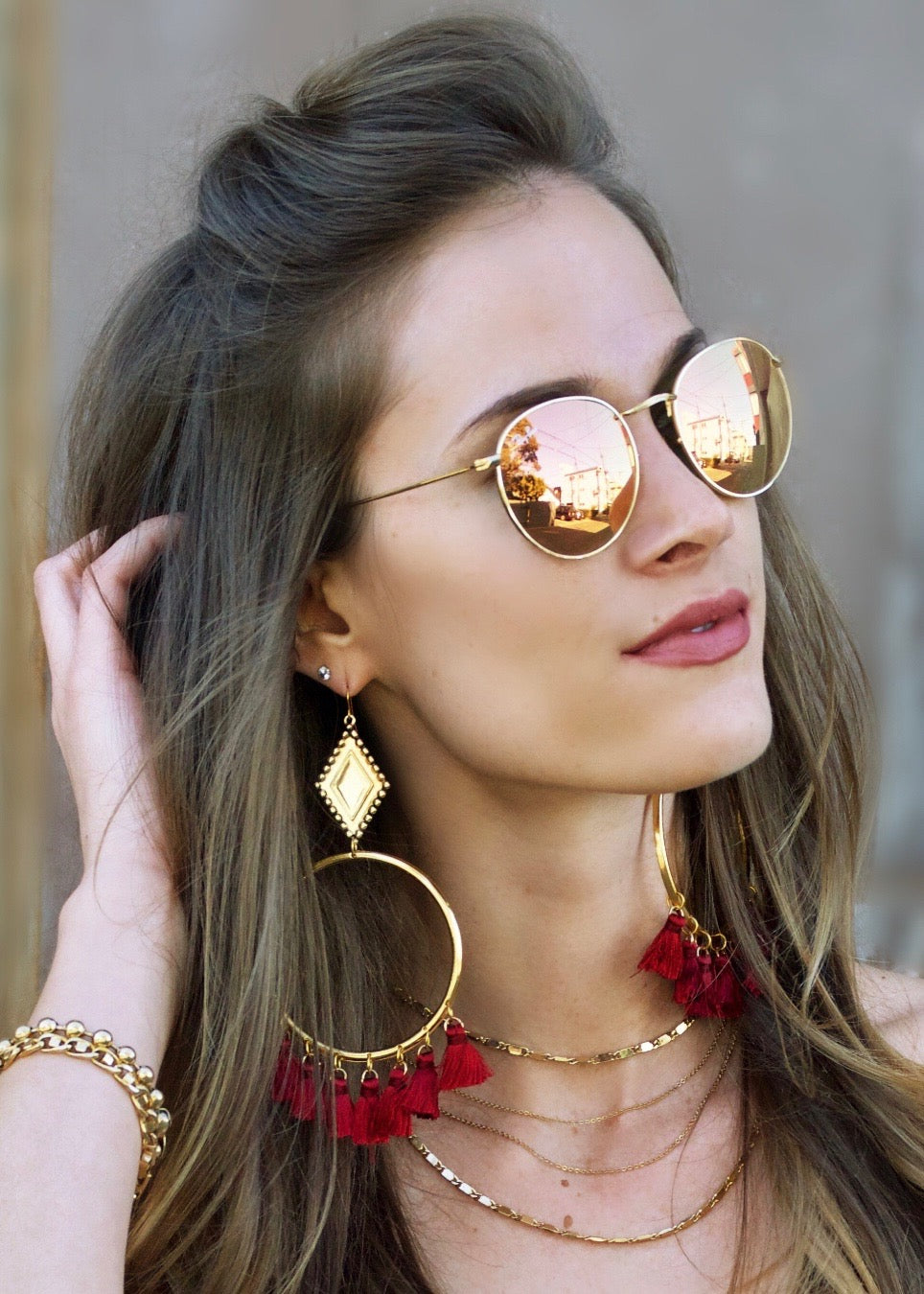 Vanessa Mooney Ania Tassel Hoop Earrings