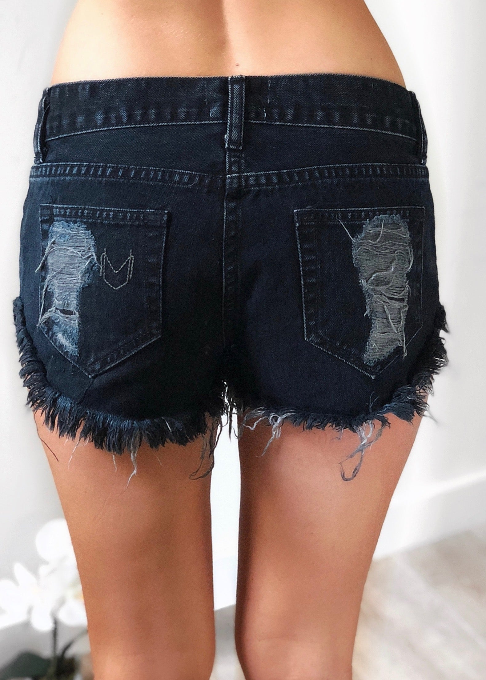 Show Me Your Mumu Distressed Dark Wash Denim Cutoff Shorts