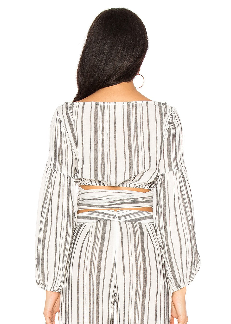 Jen's Pirate Booty Sirenuse Wrap Tie Top - Gray & White Stripes