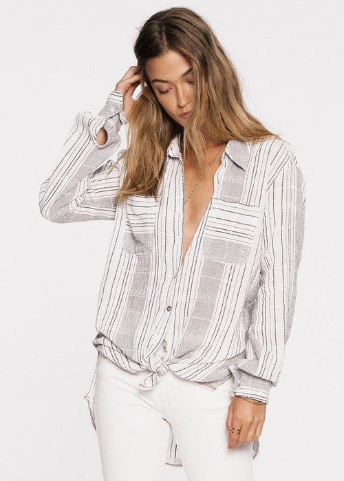Jen's Pirate Booty Gaya Button Down Top - Gray White Stripes Oversized