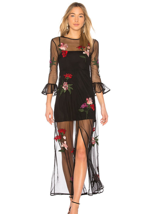 Lovers and Friends - Tallon Maxi Dress - Black Embroidered Floral Net