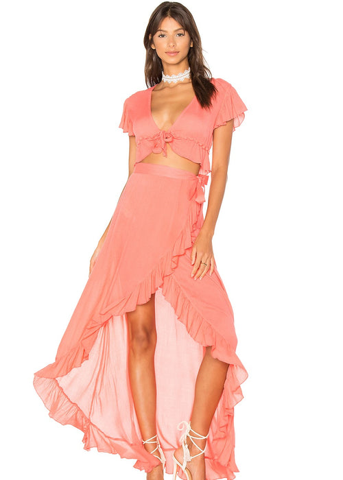 Lovers and Friends Waves for Days Matching Skirt Set - Coral Skirt