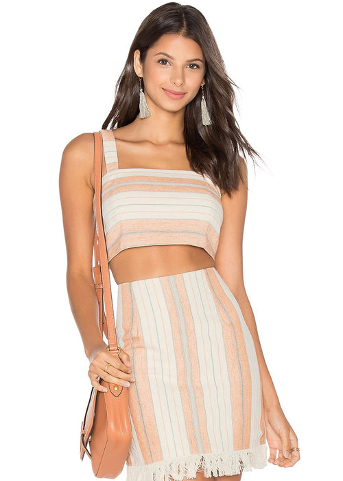 Majorelle Saddle Crop Top and Mini Skirt 2 Piece Set Woven Stripes tan