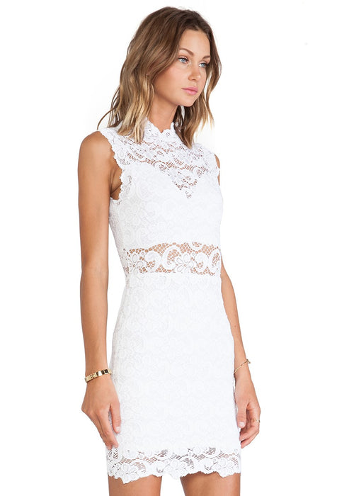 Nightcap Clothing Dixie Lace Cutout Mini Dress - Dove White Wedding