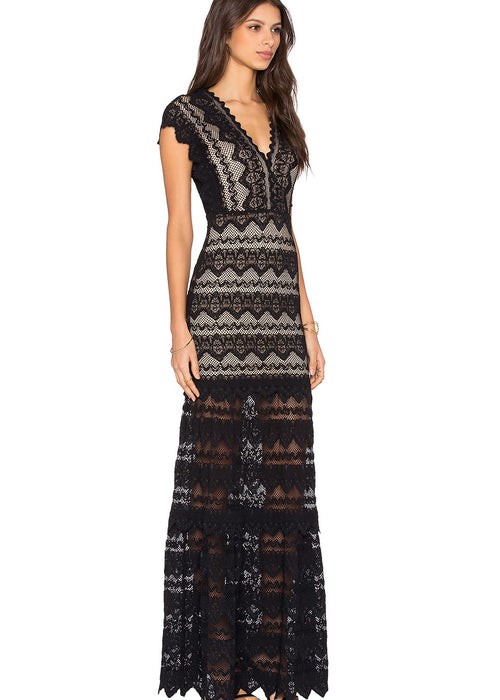 Nightcap Antoinette Spanish Lace Gown - Black/Nude Festival Maxi Dress