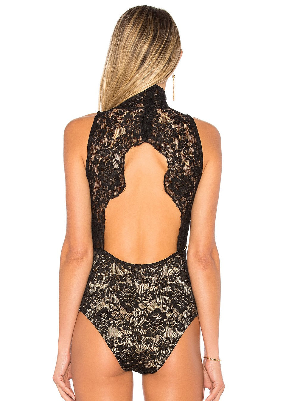 Nightcap - Victorian Lace Bodysuit One Piece - Black Nude XS