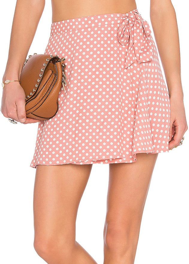 Privacy Please Randall Mini Wrap Skirt - Pink and White Polka Dots - Yvonne