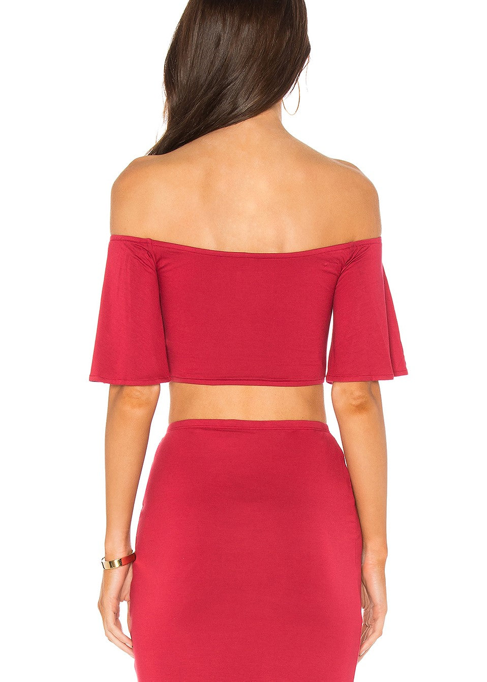 Privacy Please Hills Crop and Canyon Skirt Set - Red XS