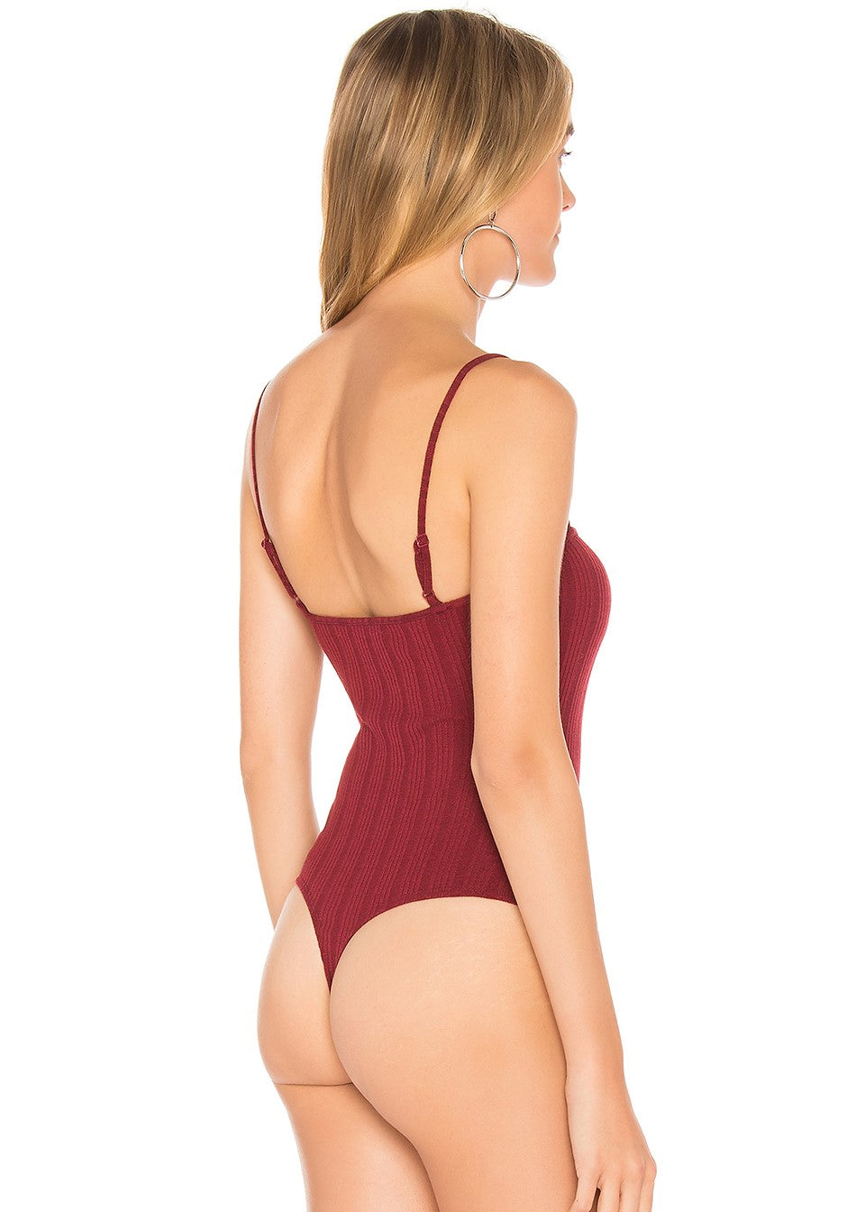 Privacy Please - Packston Bodysuit Burgundy - Button Front Thong Back