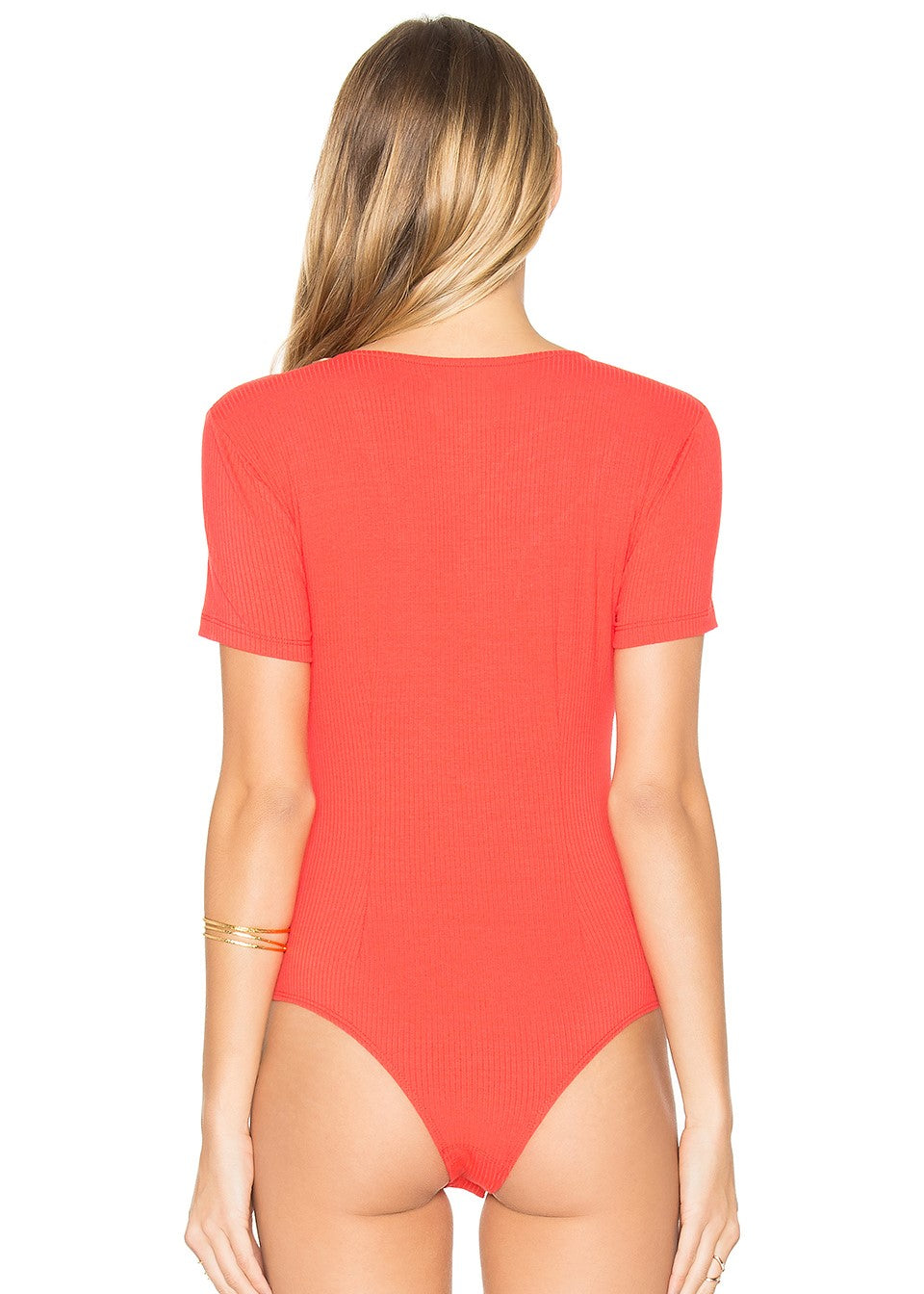 Privacy Please - Xenia Bodysuit X Revolve - Red Tie up Front Ribbed