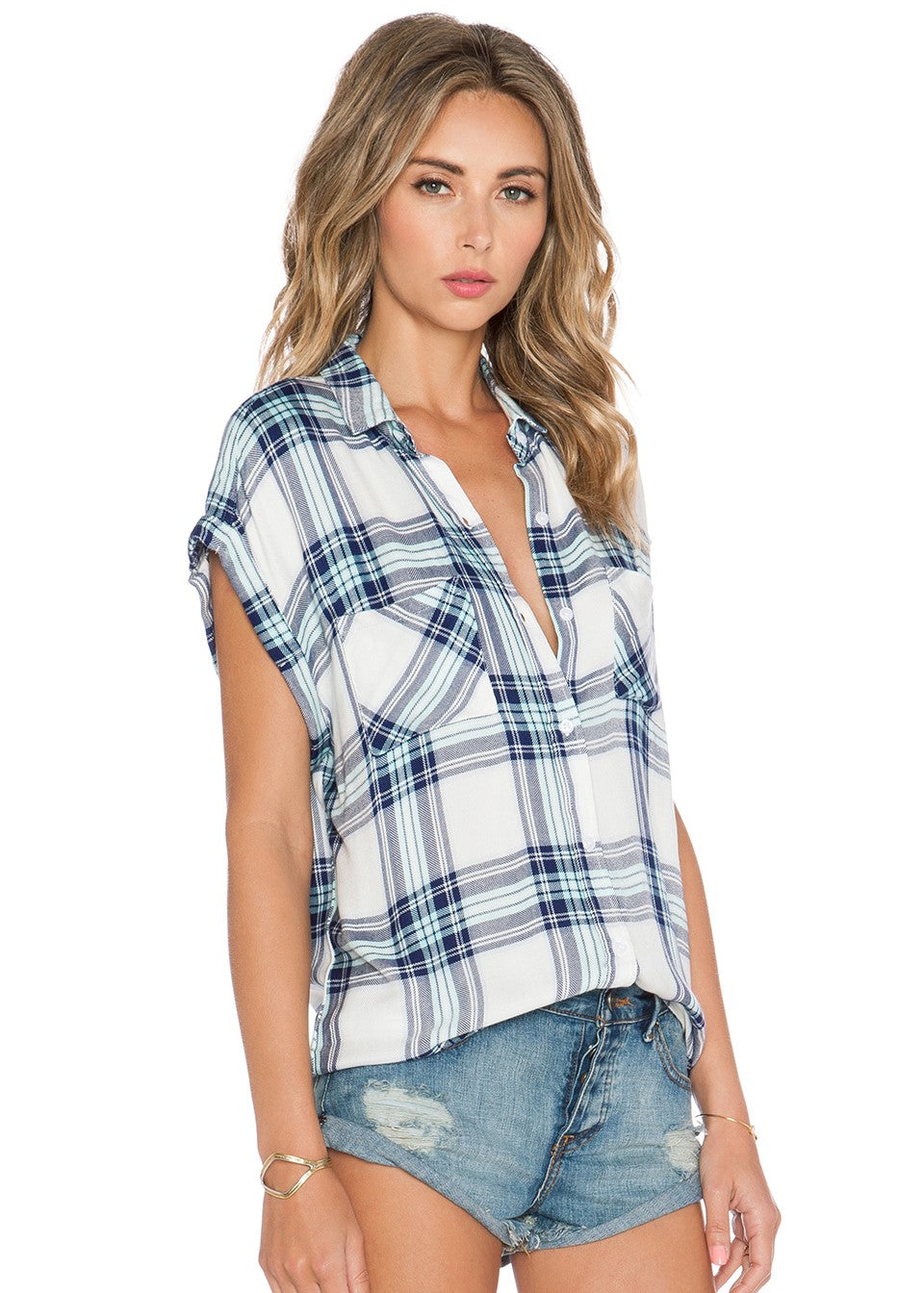 Rails Flannel Britt Button Down Top - White and Mint