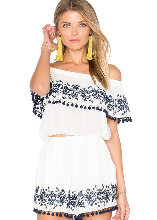 Show Me Your MuMu Teagan Pom Pom 2 Piece Set - Laney & Teagan Crop Top