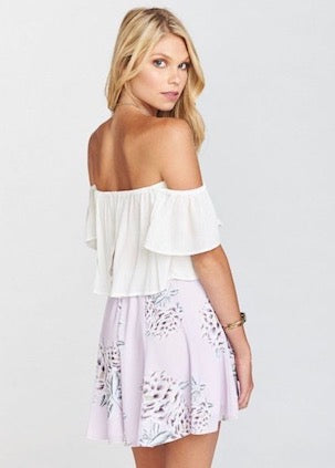 Show Me Your Mumu Liv Lov Lav Two Piece Set - Tortuga Tie Top & Skater Skirt - purple lavender floral