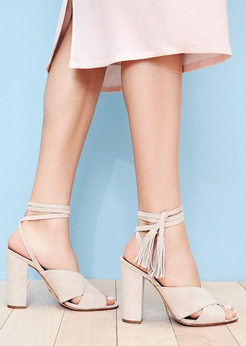 SCHUTZ Damilia Wrap Up Heeled Platform Sandal in Nude Tan Beige