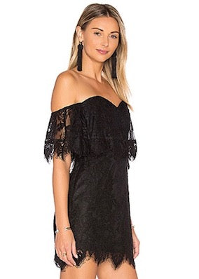 Lovers and Friends Lush Mini Dress - Black Lace Off Shoulder