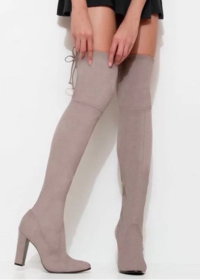 SCHUTZ Beau Over the Knee Boots - Mouse Suede Tie Back Tan Beige Cream