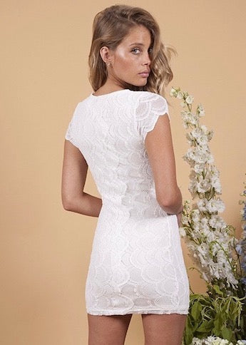 Victorian Lace Cap Sleeve Mini Dress