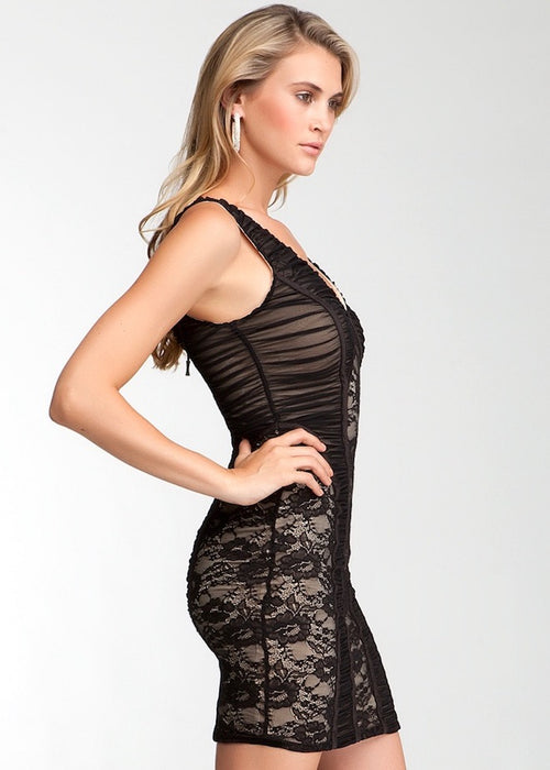 Bebe Mixed Mesh Lace mini Dress - Black Nude Floral Bodycon