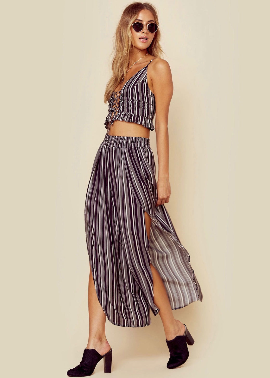 Planet Blue Blue Life - Pants Set - Sexy in Stripes Culotte