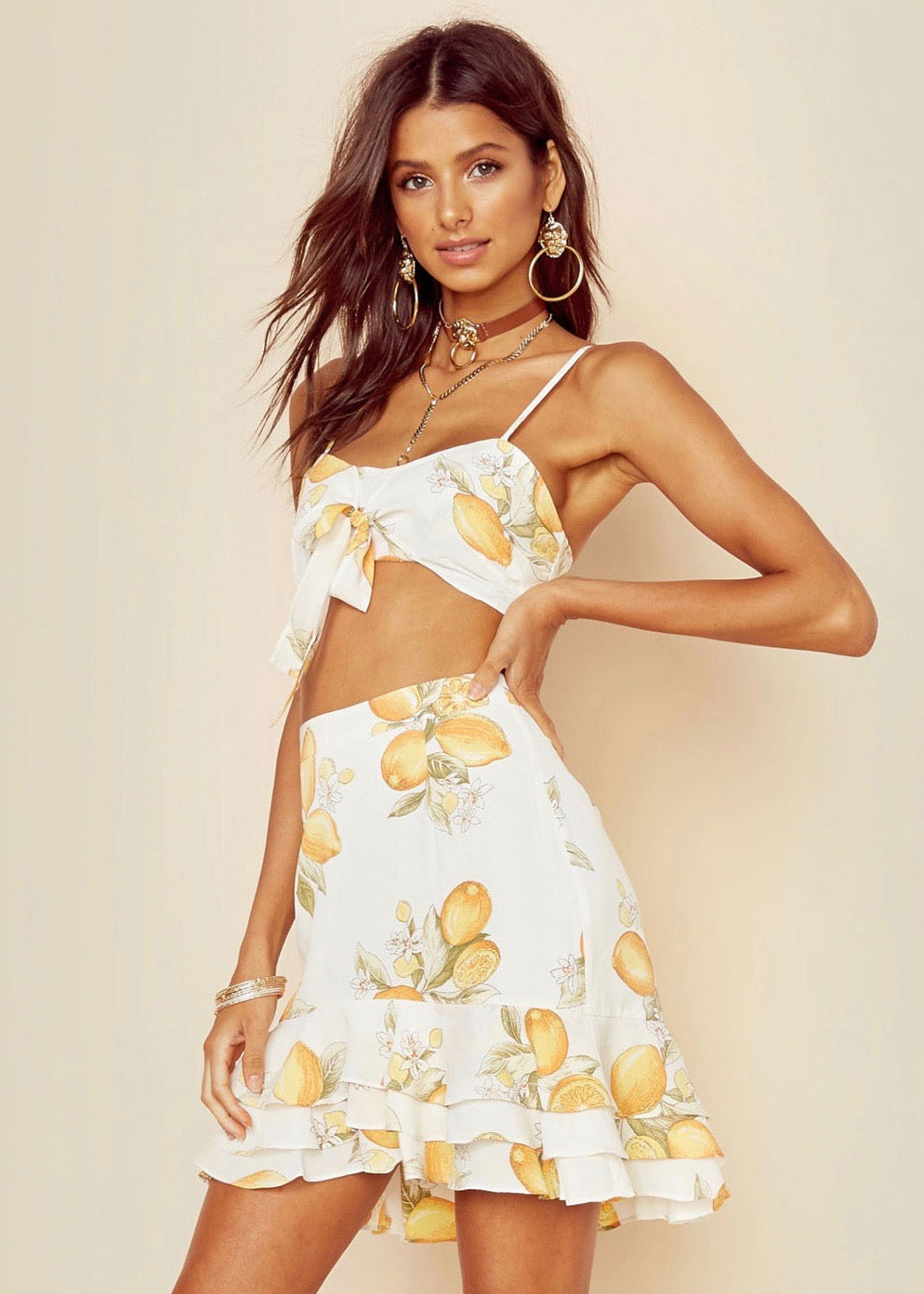 7d4ae2bc37db For Love and Lemons Limonada Crop Top   Mini Skirt Set - Yellow White