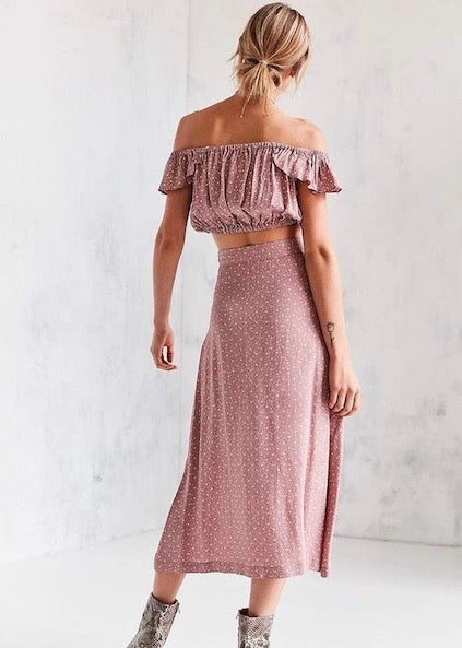 Flynn Skye Mauve Cluster Tori Top and Sophia Skirt Two Piece Maxi Skirt Set - Amanda Stanton - Pink White