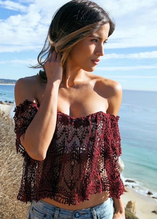 Stone Cold Fox Moroccan Holy Tube Top - Maroon Red Lace Off shoulder