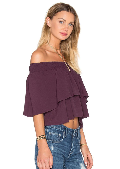 Flynn Skye Athens Top in Mulberry Maroon Purple Off Shoulder Top Crop