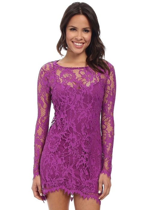 For Love and Lemons Maui Waui Mini Dress - Orchid Purple Pink lace