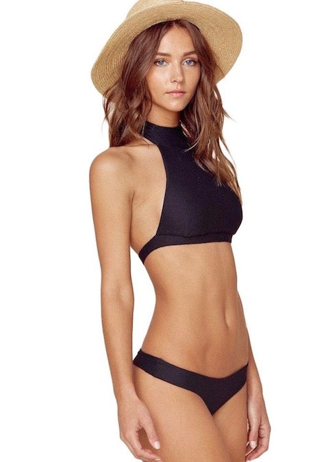Planet Blue Blue Life Island Fever Bikini Set - Black Halter Top Cheeky Bottoms