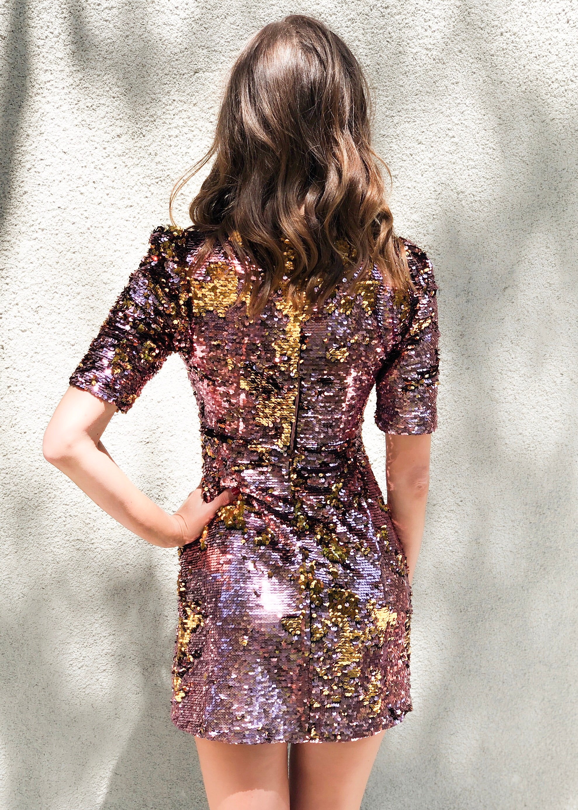 dc5f40e6de0f For Love and Lemons - Sparklers Party Mini Dress - Dusty Pink Sequin ...