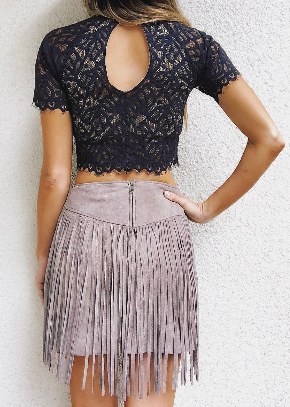 53ca144c2a Show Me Your Mumu - Rancho Fringe Mini Skirt - Gray Suede – Silk and ...