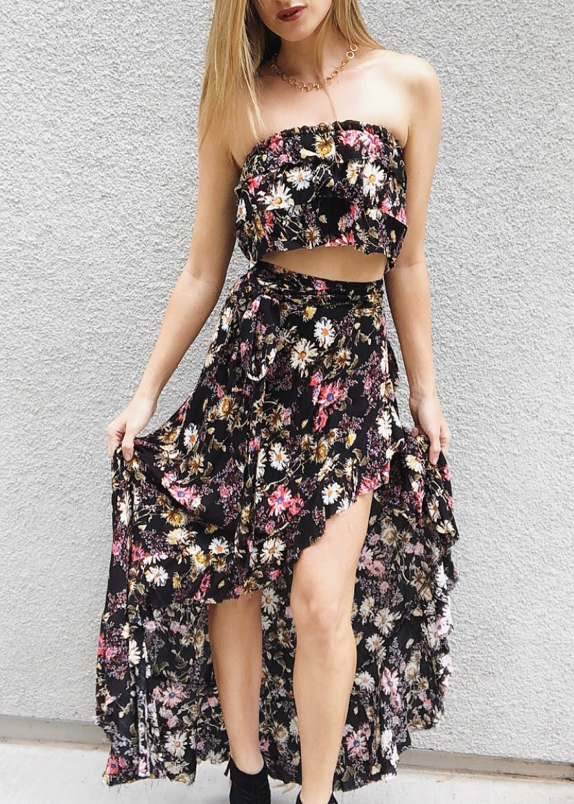Matching Floral Skirt Set
