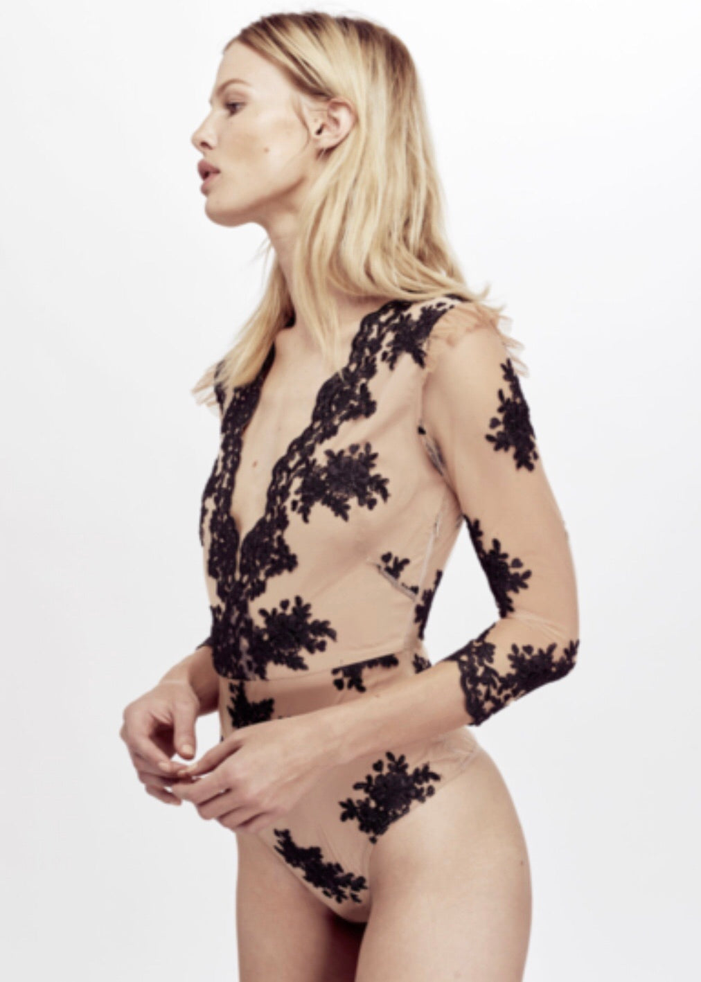 Scalloped Edge Lace Bodysuit