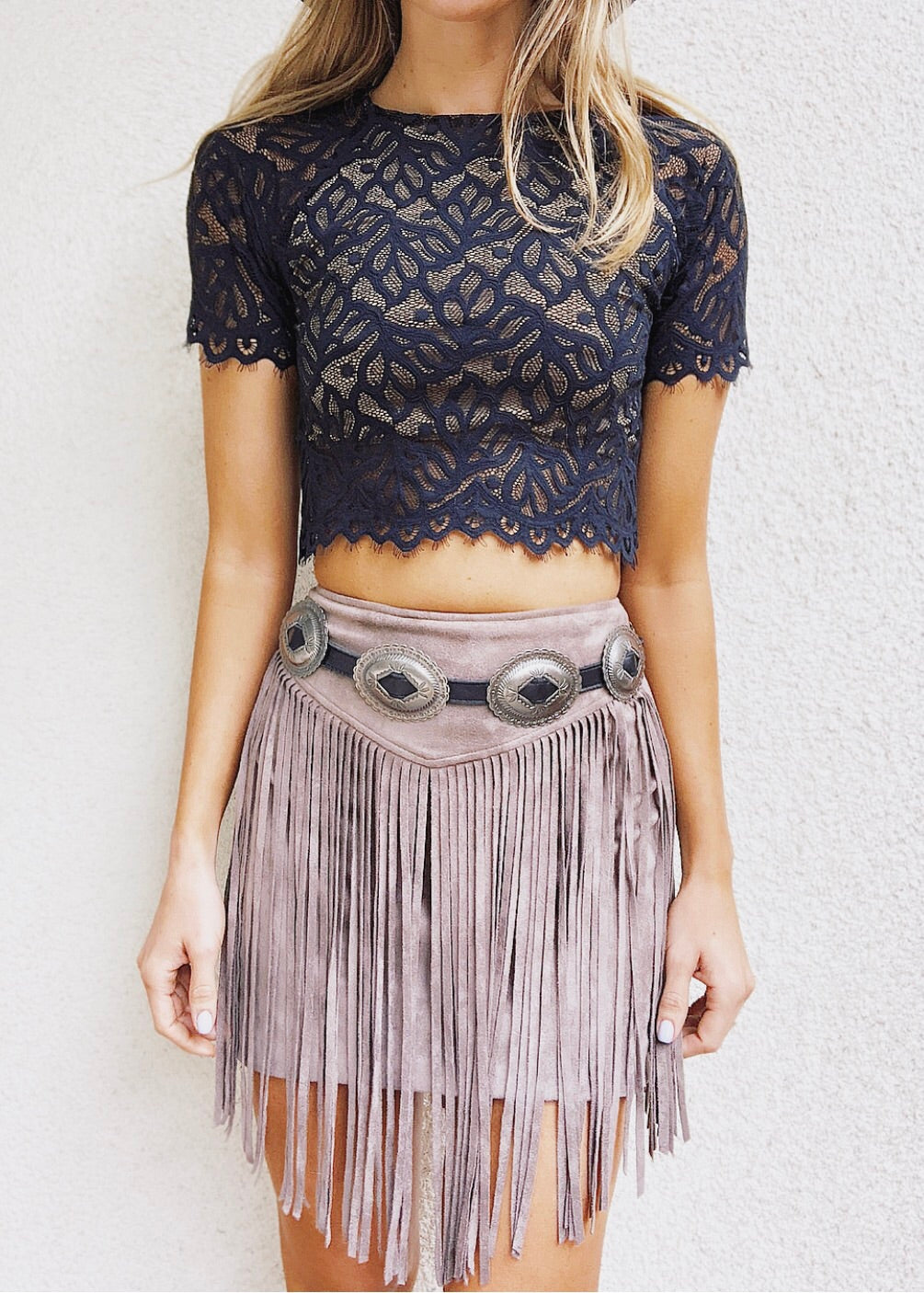 Rancho Fringe Mini Skirt