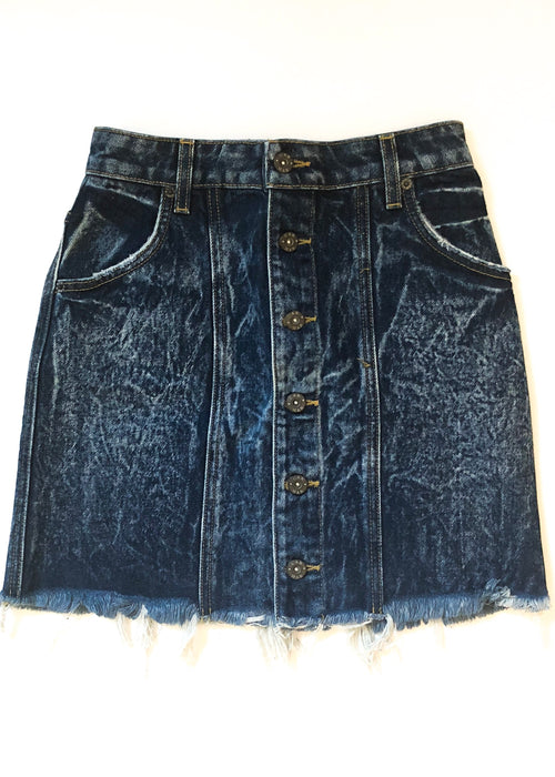 LF CARMAR - Acid Washed Denim Button Front A-line Mini Vintage Skirt