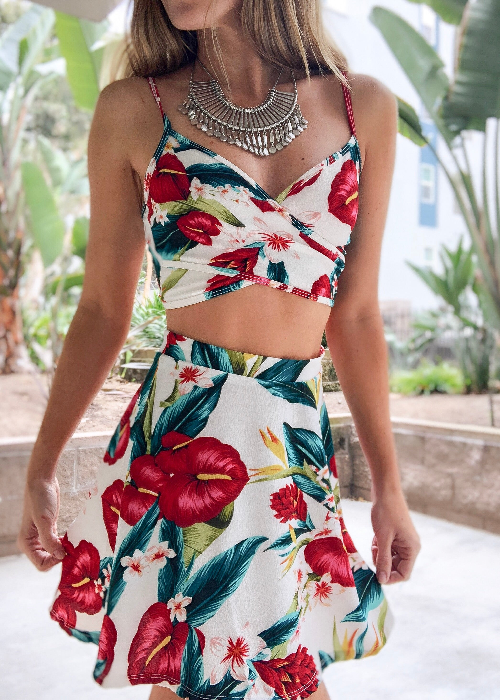 Flamingo Flower Skirt Set