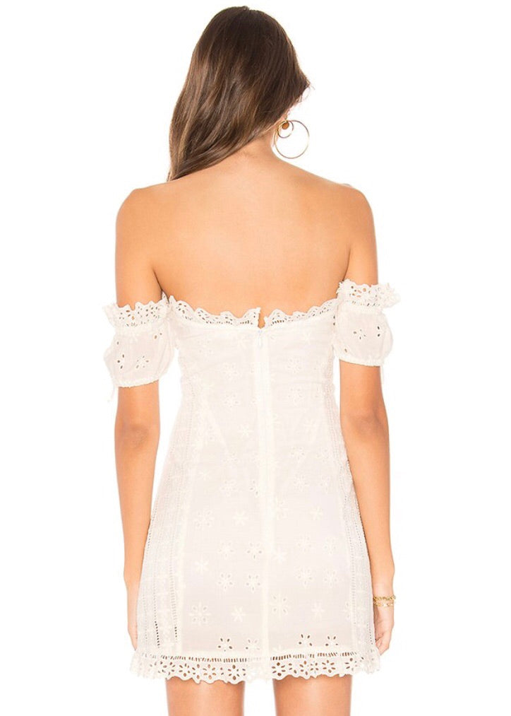 Anabelle Eyelet Lace Up Mini Dress