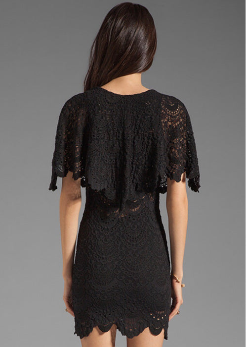 Spanish Lace Poncho Mini Dress