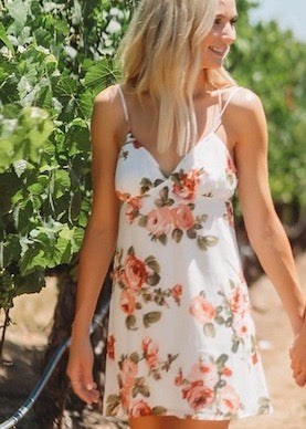 Show Me Your Mumu Elle Slip Mini Dress in Rosie Posie Pink White Floral Rose Print - Lauren Bushnell
