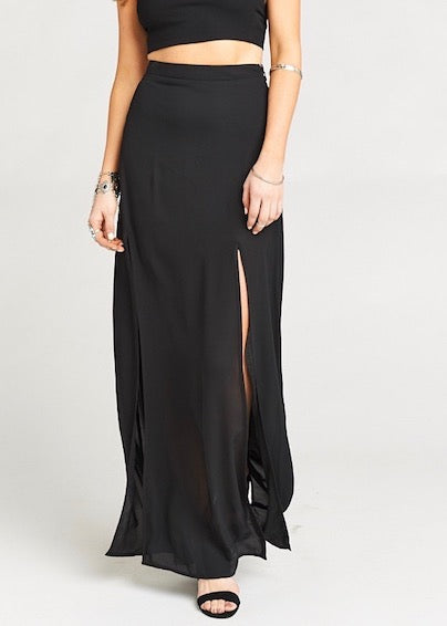 Show Me Your Mumu Mick Double Slit Maxi Skirt - Black Crisp