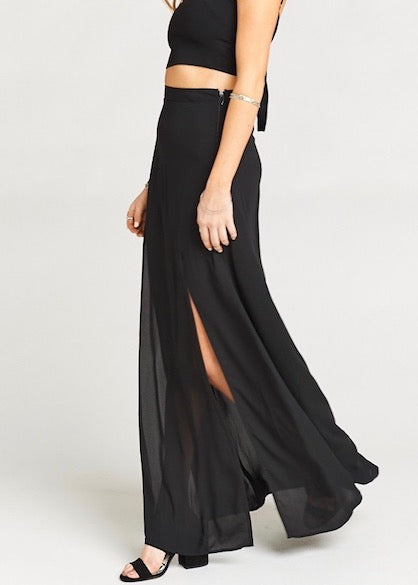Show Me Your Mumu Mick Double Slit Maxi Skirt - Black Crisp - Festival