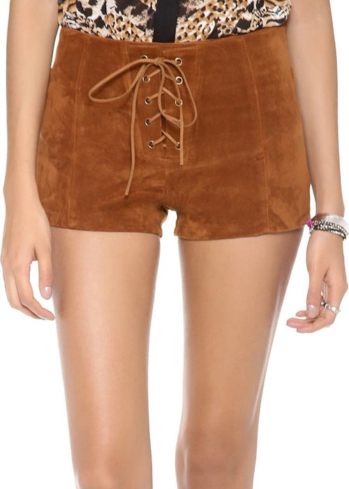 MINKPINK Boot Scooting Shorts - Lace Up Suede