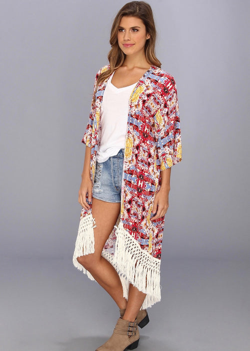 MINKPINK Garden Floral Kimono - Red Yellow Flower with White Fringe